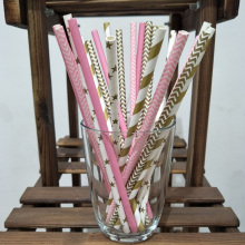 25pcs/lot pink gold striped mixed birthday wedding party decoration event & party festive supplies Kids Drinking Paper Straws