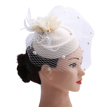 Fascinator with Feathers and Veiling ladies day Wedding Bridal Party Wedding Brides Hair accessories bride headdress(China)