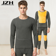 JZH 2017 Winter Men Warm Thermal Underwear Cotton Soft Long Johns Thermal Underwear Sets Thick Plus Velvet Long Johns Set Women