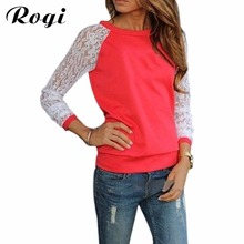 Rogi Sudaderas Mujer Women Long Sleeve Lace Crochet Hoodies Casual Patchwork Jumper Sweatshirts Pullovers Tracksuit Tops Blusas(China)