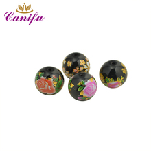 Canifu Hot New Design 12mm Gold Leaf Flower Pattern Black Glass Beads for DIY Jewelry Bracelet Factory Price GFB01(China)