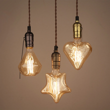 Diamond Heart Star Vintage Industrial Aluminum Beautiful  Glass Edison Bulb Ceiling Pendant Lamp Cafe Bar Club Coffee Shop