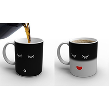 1PCS Magic Heat Sensitive Color Change Coffee Mug Ceramic Milk Tea Morning Mug Black colour smile face black white Gift