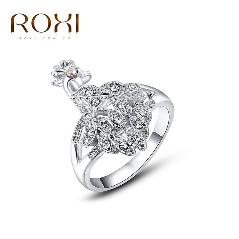 2017 ROXI Brand Phoenix Shaped Shiny Czech Stone Ring White Gold Color Wedding Jewelry For Romantic