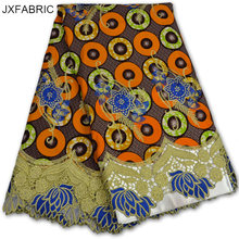 JXFABRIC African Wax Prints Fabric Super Wax Hollandais With Lace And Stones Ankara African Wax Print Fabric 2017 New Style