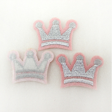 5Y44647  38*28mm crown Embroidery patch printed polyester ribbon 5 pieces, DIY handmade materials, wedding gift wrap