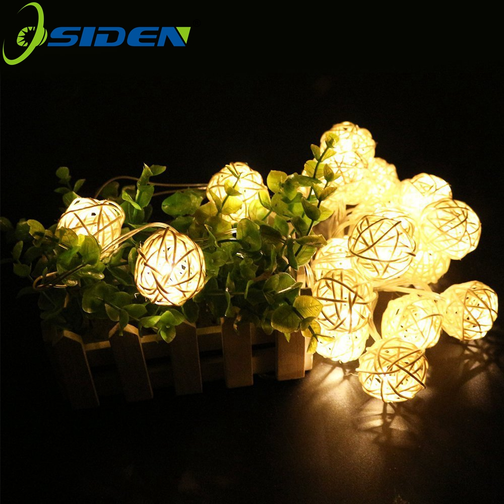 OSIDEN Rattan Ball5M 20 LED EU/US Warm White LED String Lighting Holiday Christmas Wedding Party Curtain Decoration Lights Drop(China (Mainland))