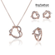 No Minimum Order Jewelry set fashion wrapped double peach heart pendant earrings jewelry three-piece - soulmate For Friend Women(China)
