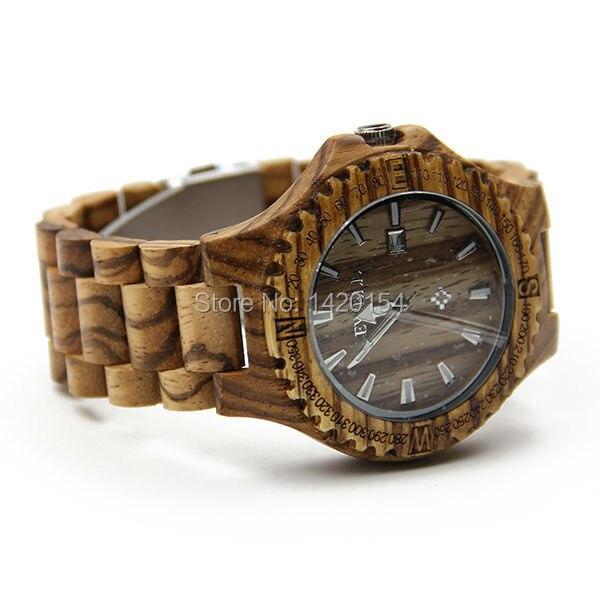 2016 Stylish Zebra Bewell Wooden Watch Date Bracelet Quartz Watch Clock <br>