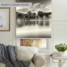 MOMO Thermal Insulated Blackout Fabric Custom Scenic Window Curtains Roller Shades Blinds,PRB set169-173