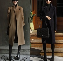 Women Cashmere Coat Spring Autumn Coats Long Fashion Elegant Wool Trench Coat Camel Brown Black Overcoat Wool Coats(China)