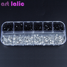 3000pcs 2mm Rhinestones Nail Decoration Round Black Clear Glitters With Hard Case DIY Nail Art Decorations(China)