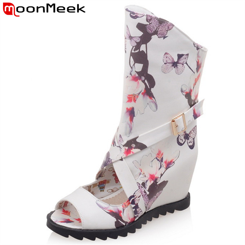 MoonMeek 2017 new arrive summer boots classic peep toe height increasing print high heels boots fashion sexy ladies party shoes<br>