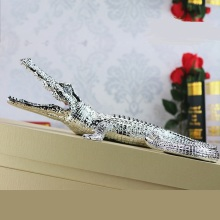 Rhinestone Crocodile Miniature Figurine Handmade Resin Alligator Predator Animal Decoration Gift and Craft Trinket Ornament