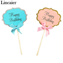 Lincaier 5 Pieces Happy Birthday Cupcake Cake Toppers Baby Boy Girl Kids DIY Party Adult Favors Decorations Children Supplies