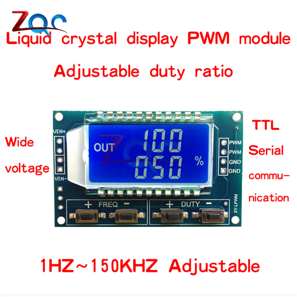 Signal Generator PWM Pulse Frequency Duty Cycle Adjustable Module LCD Display 1Hz-150Khz 3.3V-30V PWM Board Module 4