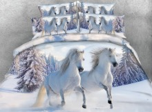 Royal Linen Source 4 Parts Per Set Bed Sheet Set Best Selling White horses Gallop in Snow HD 3d bedding set