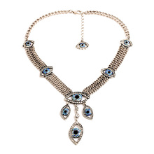 Hot Resin Perfumes Femininos Lariat New Arrival Gold Color & Silver Jewelry Eyes Light Blue Pendant Necklace