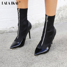 LALA IKAI Front Zipper Pointed Toe Short Boots Women's High Heel Shoes Fashion Black Motorcycle Boots 040N1527-4