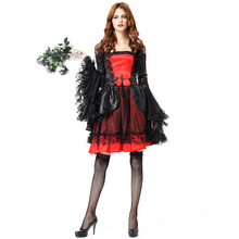 New Exotic Clothes Halloween Deluxe Black and Red Ghost Bride Costumes Gothic Vampires Queen Stage Disfraces 8890H294
