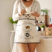 High quality French Cook Apron Cotton Linen cloth garden shop Coffee Bar Kitchen Apron