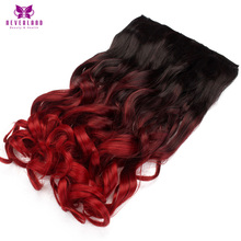 Neverland Wine Red Ombre Hair 5 Clips One Piece Wavy Hairpiece Clip In Hair Extensions Heat Resistant Synthetic Fake Hair