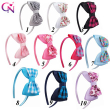 10 Pcs/lot Fabric Ribbon Bow Hairband With Satin Covered For Kids Handmade Hard Headband Hair Accessories Headwear