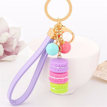 New Creative Macarons Cake Hot Key Chain Hide Rope Pendant Fashion Keychains Car Keyrings Accessories Women Bag Charm Trinket(China)