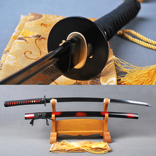 Black Blade Samurai Sword Japanese Katana Handmade Full Tang Sharp Espada Tameshigiri Sword High Carbon Steel Iaido Train Knife(China)