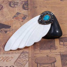 DoreenBeads 1PC Natural Shell Pendants Angel Wing with Yellow & Black Rhinestone Blue Green Gem Stone 7.4cm x 2.9cm