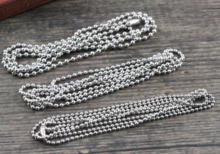 Stainless Steel  ( No Fade ) 5pcs /lot 3 Size 1.5mm and 2.0mm and 2.4mm Ball Beads Chain Necklace Connector 70cm (27.5 inch)
