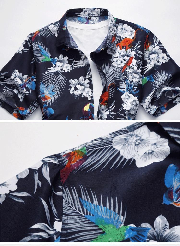 2018 Short Sleeve Mens Hawaiian Shirt Male Casual Camisa Masculina Flower Print Beach Summer Shirts Brand Clothing Men Plue Size 30