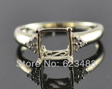 Princess cut 7.5x7.5mm 14K Solid Y/Gold 0.09ct , Semi-Mount Ring,Free Shipping