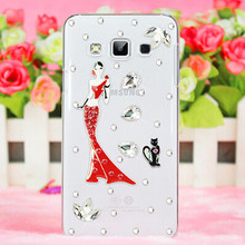 New 3D Cat ballet love bling Crystal diamond Cell Phone Shell back Skin cover hard case For Samsung Galaxy J1 Case Duos J100(China)