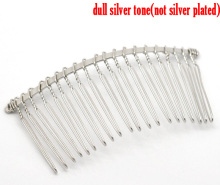 "DoreenBeads Silver Tone Comb Shape Hair Clips 7.8x3.8cm(3-1/8""x1-1/2""), 10PCs (B17122)(China)"