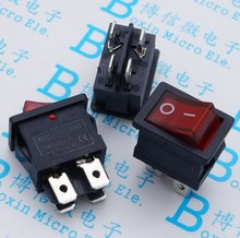 5PCS/Lot 21x15mm Red ship type switch KCD1-104 4 feet 2 import file with lamp become warped board power switch