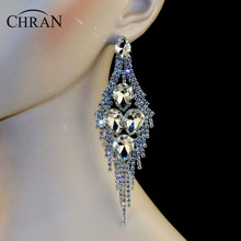 "Chran New Luxury Bridal Gold Color Rhinestone Crystal Earings Wedding Party Dangle 5"" Chandelier Drop Earrings Jewelry LE802"