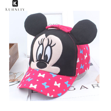 2017 new hot summer  Nylon fastener tape caps Cute Style Mickey Children Baseball Caps Boys Girls one size character unisex hats