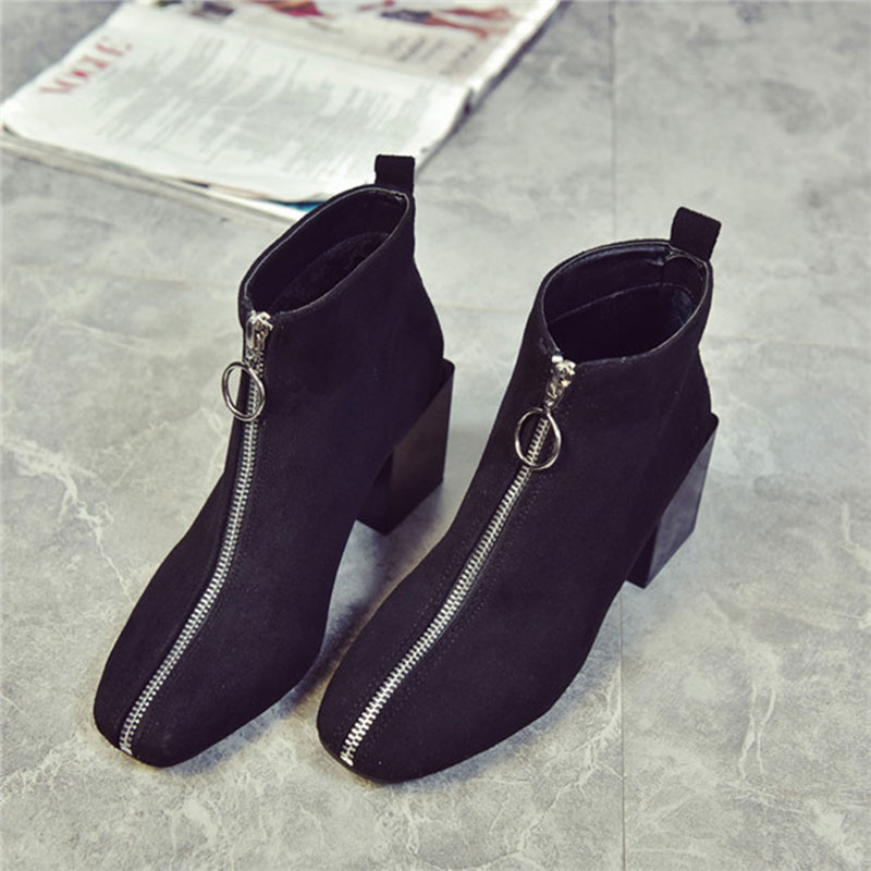 New Women High Heels Boots Fashion Martin Boots Women Casual Leather Zipper Boots Warm Women Ankle Boots Chaussure Femme<br><br>Aliexpress