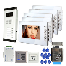 "FREE SHIPPING New 7"" Color Screen Video Intercom Door Phone System 5 Monitors 1 Doorbell Camera For 5 Family + Electric Lock"