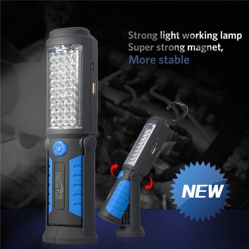Super Bright USB Charging 36+5 LED Flashlight Work Light Magnetic+HOOK +Mobile Power for Your Phone Outdoor<br><br>Aliexpress
