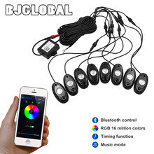 2016 New arrival under car light 8pods 9w RGB led rock light with Bluetooth Control for 4x4 Off road ATV