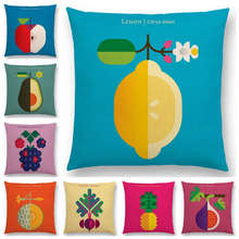 Lovely Fruits Vegetable Cushion Cover Lemon Pineapple Avocado Blackberry Onion Beetroot Cucumber Sofa Throw Pillow Case(China)