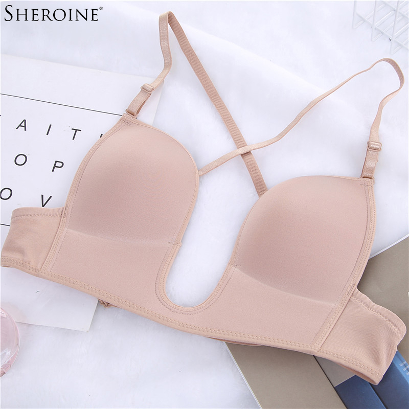 ed3fe66ae1 Sheroine Sexy Satin Invisible Plunge Bra Women Deep U Backless Bras U Shape  Multi-way Low Cut Push Up Brassiere Dress underwear