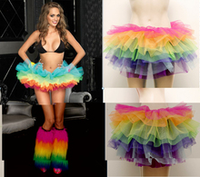 new 2014 Women rainbow tutu skirts Neon Color Mini Sexy Belly puff Dance wear american apparel tulle asymmetrical bottoms(China)