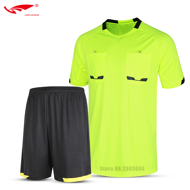 Top Quality Men Referee Clothes Football Training Uniforms Men Soccer Uniform Quick Dry Futbol Referee Wear Soccer Training Sets(China)