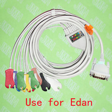 Compatible with 15PIN EDAN EKG Machine the One-piece 10 lead ECG cable and Clip leadwires,IEC or AHA.