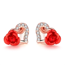 New Fashion Czech drill Stud Earrings Hot Sale Classic  Gold colour Rose Flower Earring For Women Girls Jewelry