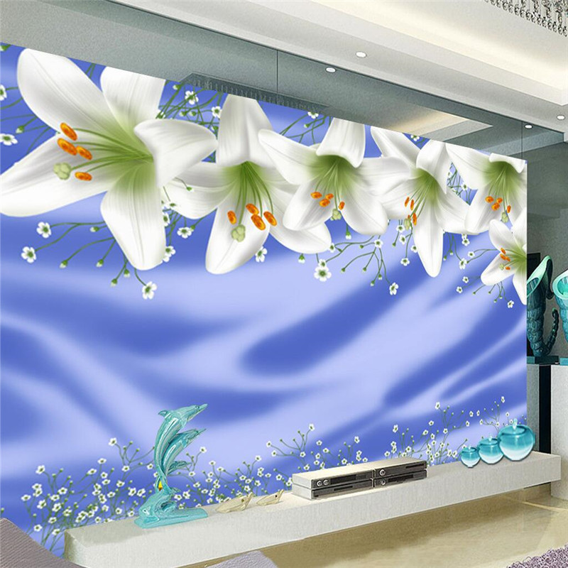 modern background large painting White lily blue silk cloth murales de pared 3d wallpaper hotel badroom mural for living room<br><br>Aliexpress
