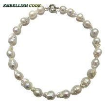 Normal size baroque pearl necklace tissue nucleated flame ball shape just white color low price 100% natural freshwater pearl